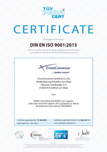 ISO 9001 certificate for CrossConsense in English (Version 2015)