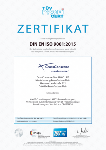 ISO 9001 certificate for CrossConsense in German (Version 2015)
