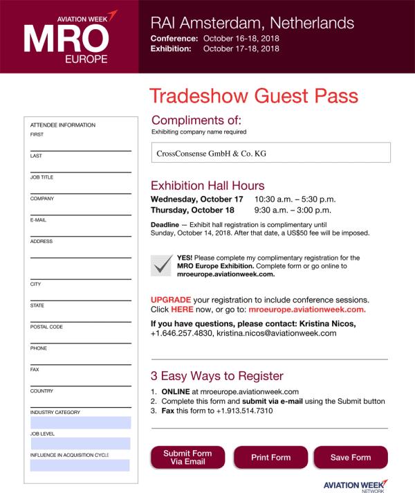 MRO Europe Tradeshow Guest Pass